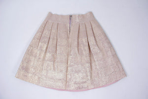 Pleated Metallic Pink Mini Skirt, SIZE S