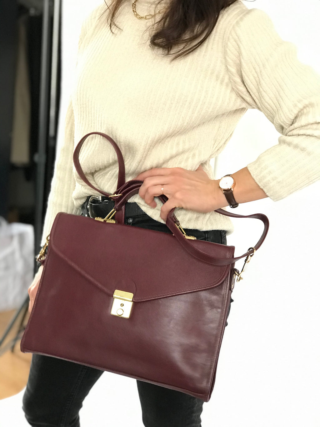 Vintage Burgundy Leather Small Briefcase with Gold Hardware