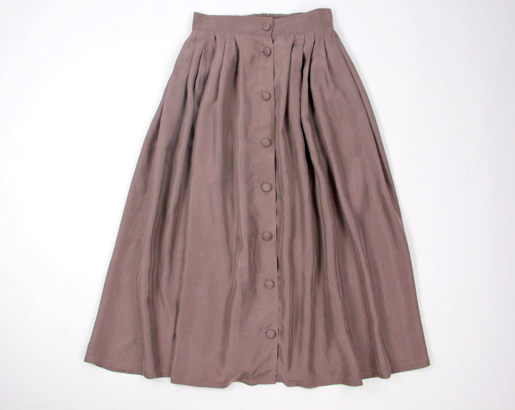 Vintage 100% Silk Brown Front Button Skirt, Size M