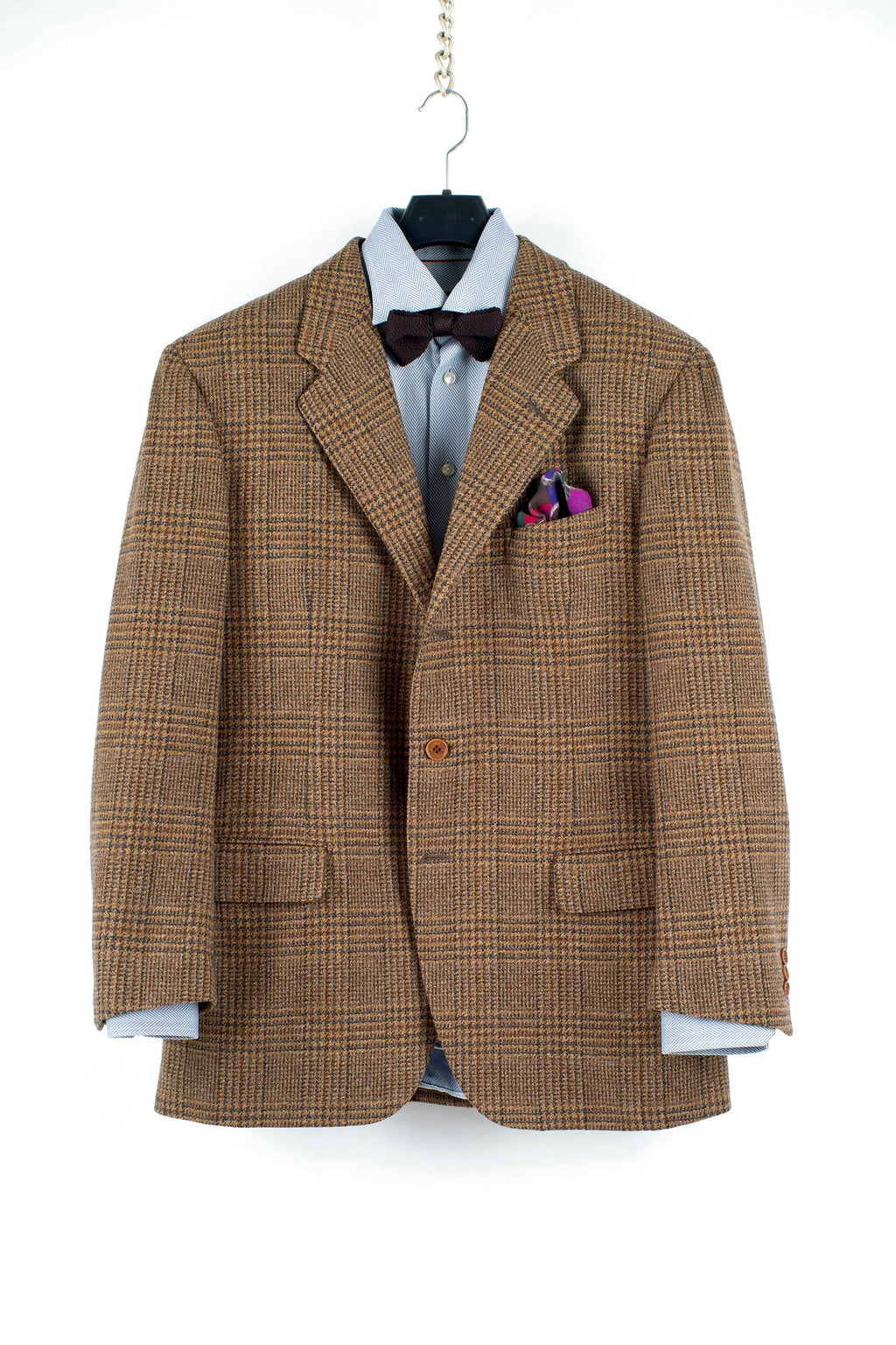 Salvatore Ferragamo Tweed Wool Glen Plaid Brown 3 Button Blazer, US 42R, EU 52R