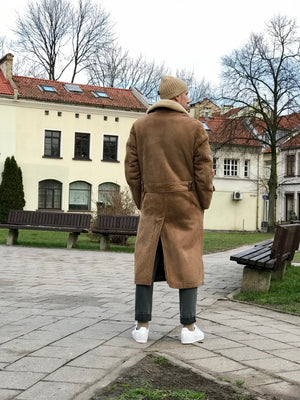 Men's Long Brown Shearling Sheepskin Coat, SIZE L - secondfirst