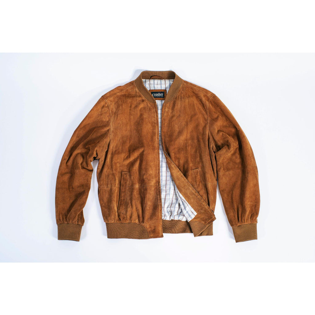 Christ Men's Soft Brown Suede Leather Bomber Jacket SIZE XL