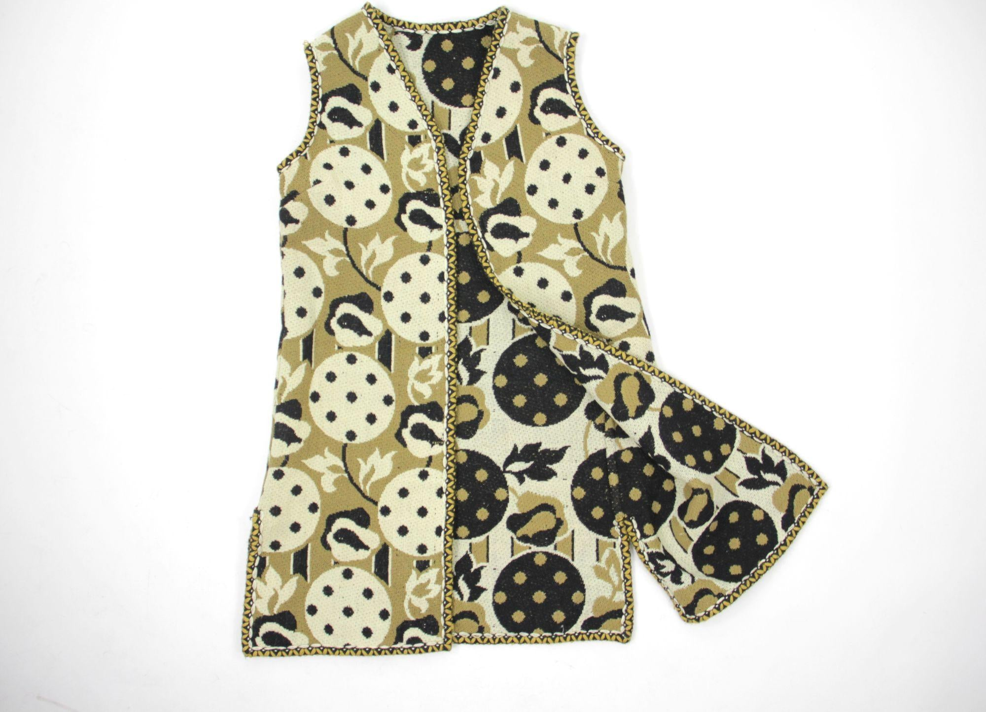 Scandinavian Vintage Open Front Double Faced Wool Vest