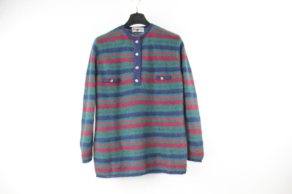 Men's Striped Super Kid Mohair Henley Knit Jumper Sweater