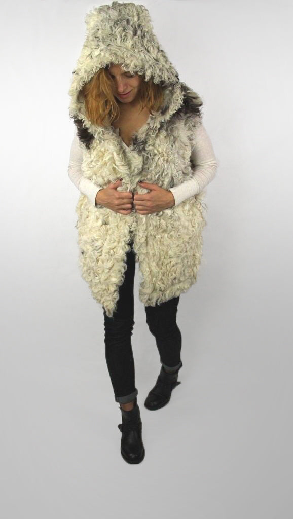 Soft & Curly Goat Fur Hooded Vest With Silk BLend Lining SIZE M - secondfirst