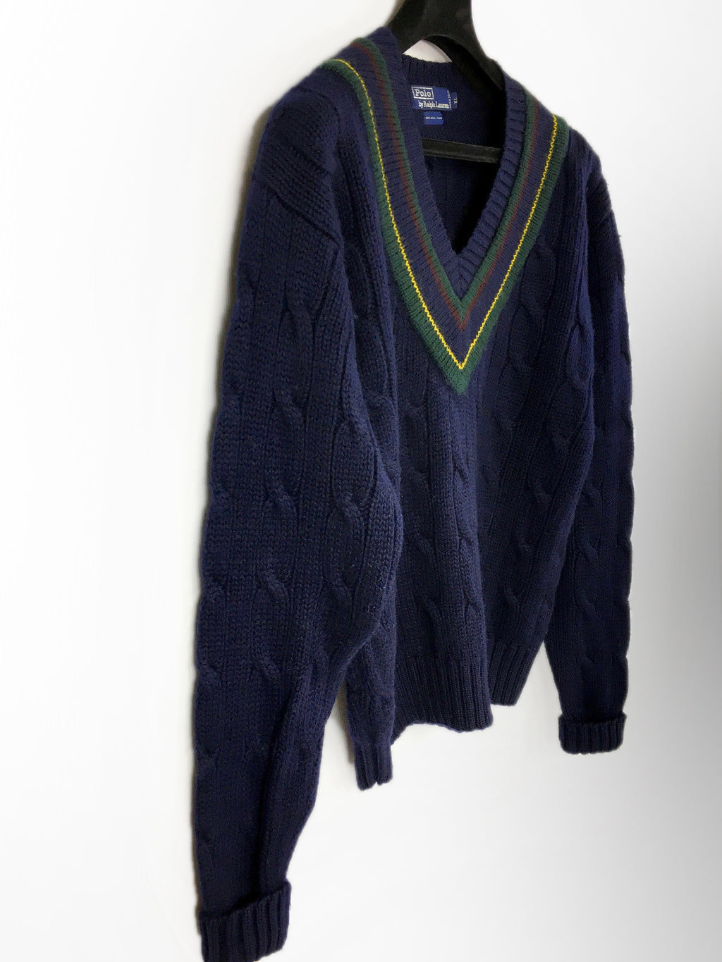POLO by RALPH LAUREN Chunky Cable Knit Wool V-neck Sweater, XL - secondfirst