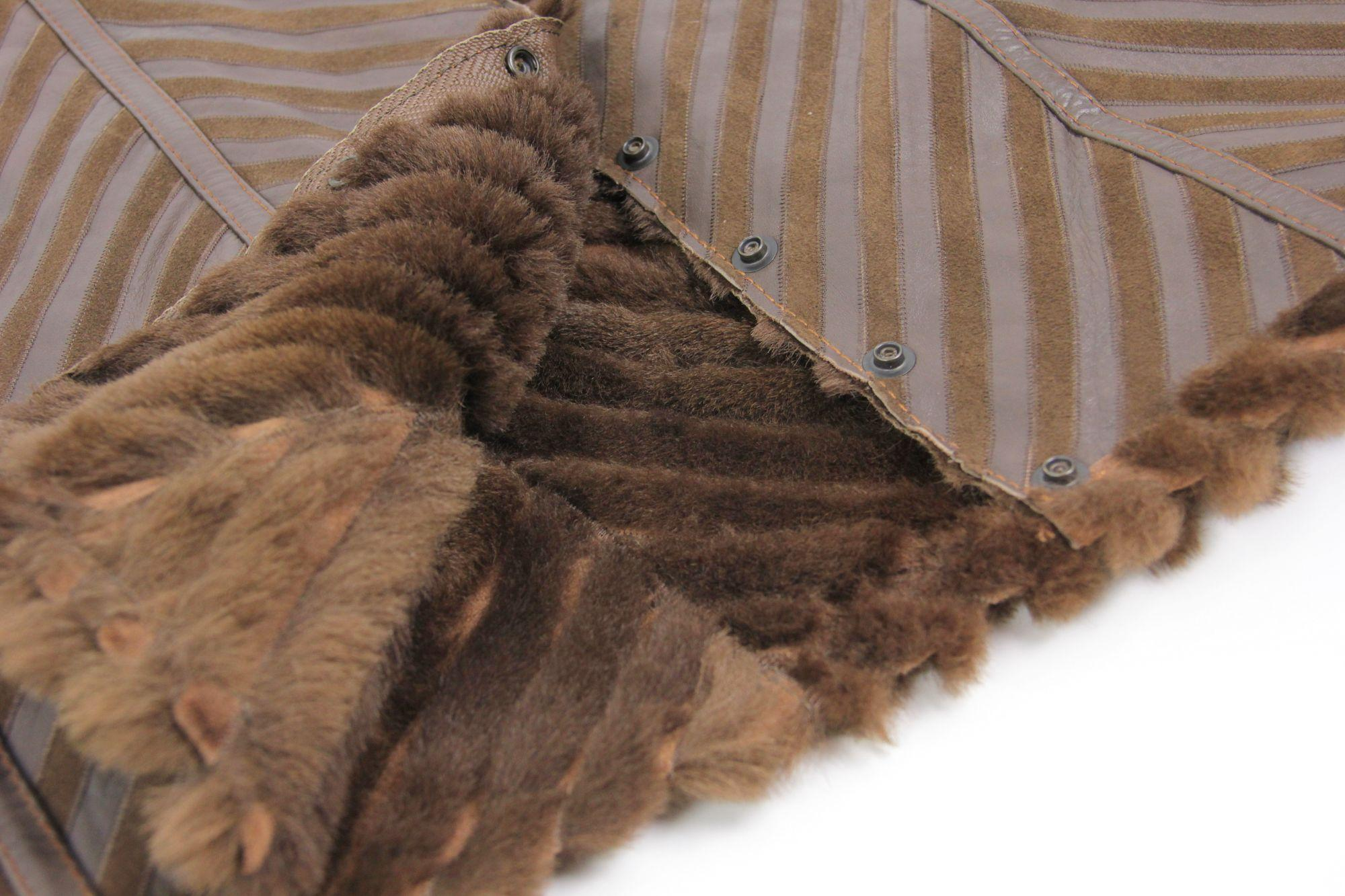 Brown Leather Shearling Double Sided Patchwork Skirt, SIZE XS