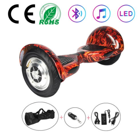 Red Flame 10 Inch Hoverboard With Bluetooth & Remote Control