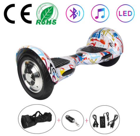 Graffiti White 10 Inch Hoverboard With Bluetooth & Remote Control