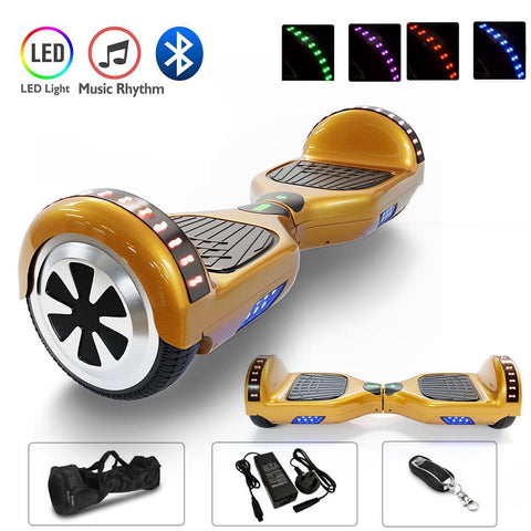 Gold Chrome 6.5 Inch Hoverboard With Bluetooth & Remote Control