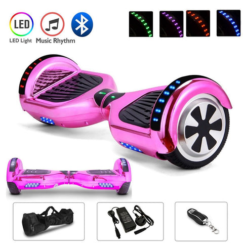 Pink 6.5 Inch Hoverboard LED Lights Remote Control & Bluetooth Speaker
