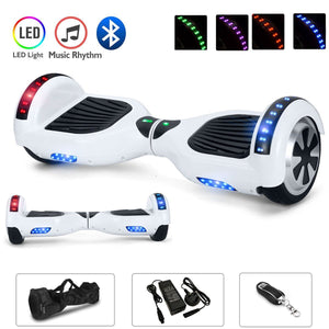 White Chrome 6.5 Inch Hoverboard With Bluetooth & Remote Control