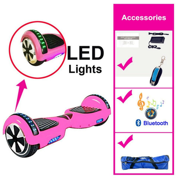 Purple Chrome 6.5 Inch Hoverboard LED Lights Remote Control & Bluetooth Speaker - Hoverboard Ireland For Sale
