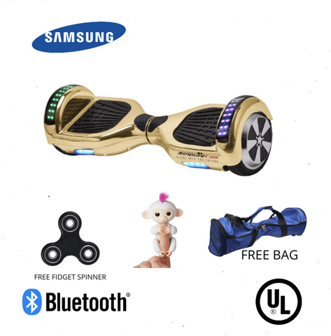 Gold Chrome 6.5 Inch Hoverboard LED Lights Remote Control & Bluetooth Speaker - Hoverboard Ireland For Sale