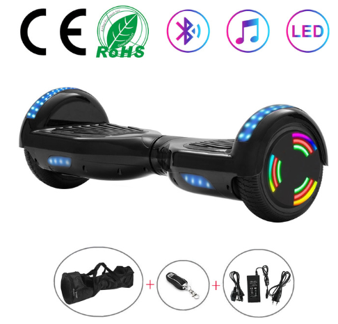 Black Disco Chrome 6.5 Inch Hoverboard With Bluetooth & Remote Control