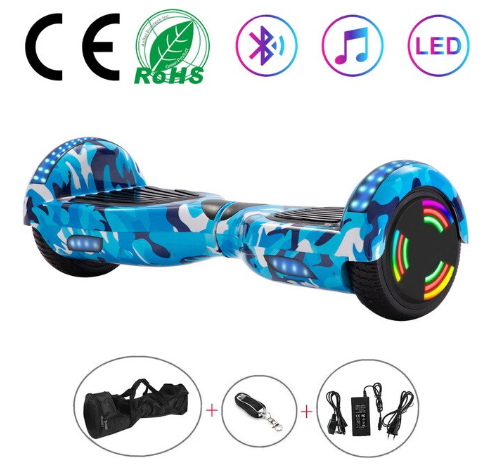 Blue Camo 6.5 Inch Hoverboard With Bluetooth & Remote Control