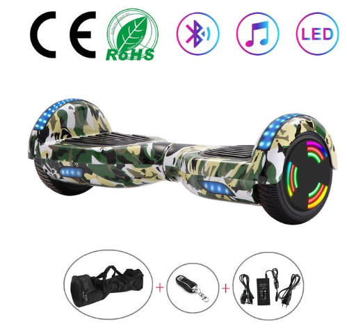 Green Camo 6.5 Inch Hoverboard With Bluetooth & Remote Control