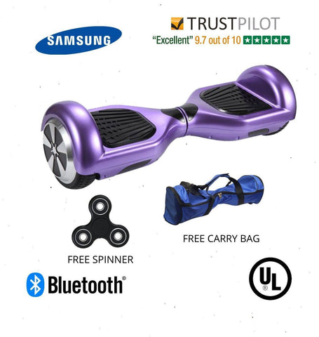 Purple 6.5 Inch Classic Hoverboard With Free Carrier Bag & Remote Control