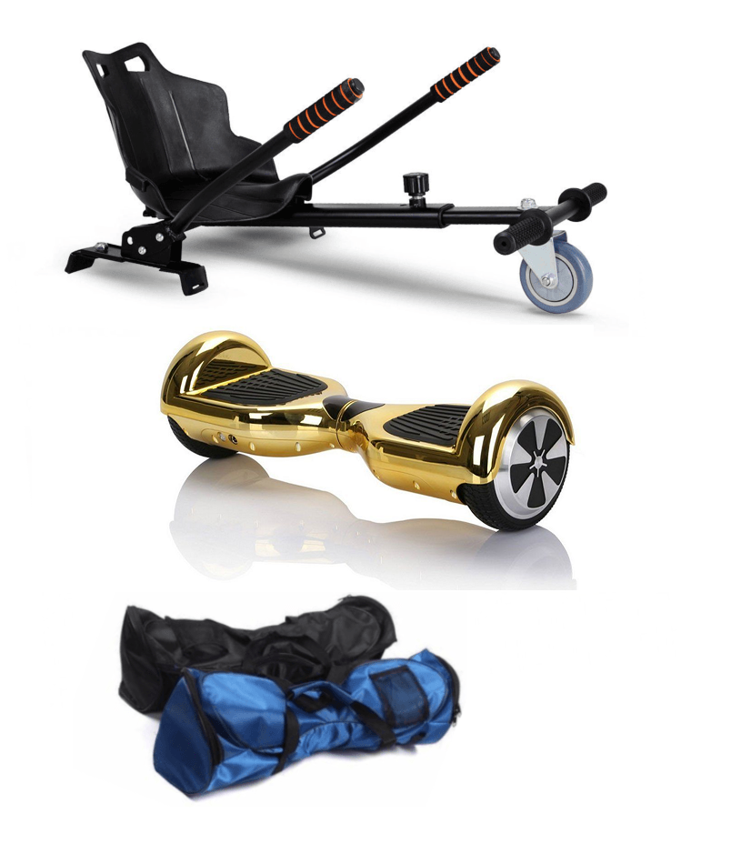 Gold 6.5 Inch Classic Hoverboard and Hoverkart Bundle