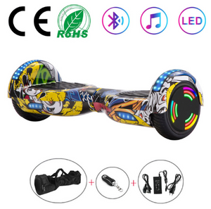 Graffiti Yellow 6.5 Inch Hoverboard With Bluetooth & Remote Control