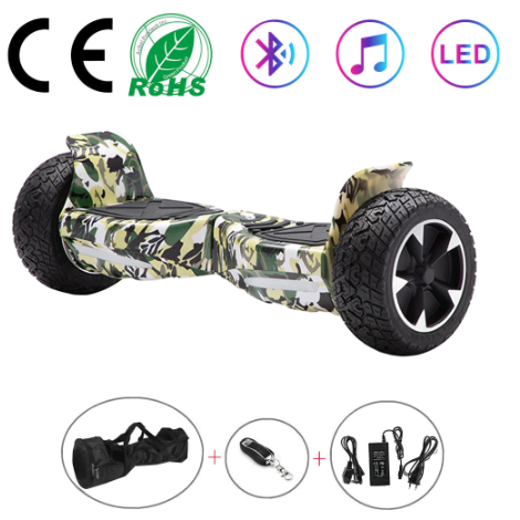 Green Off Road 8.5 Inch Hoverboard With Remote Control Bluetooth Speaker