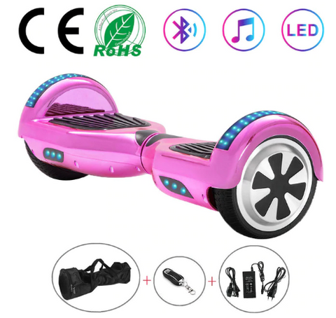 Pink Chrome 6.5 Inch Hoverboard With Bluetooth & Remote Control
