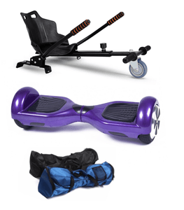 Purple 6.5 Inch Classic Hoverboard and Hoverkart Bundle