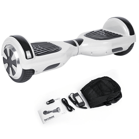 White 6.5 Inch Classic Hoverboard With Free Carrier Bag