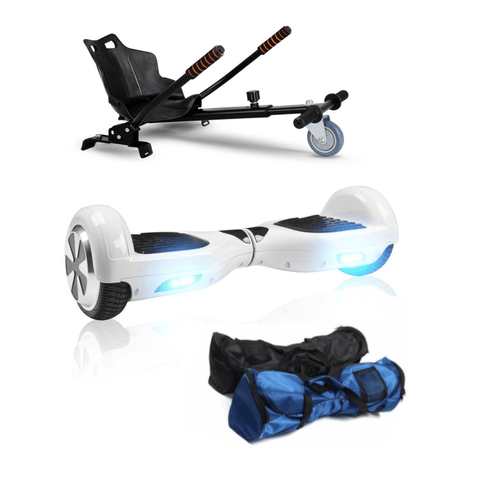White 6.5 Inch Classic Hoverboard and Hoverkart Bundle