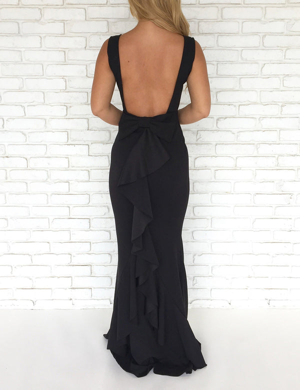 Backless Bow Back Maxi Dress