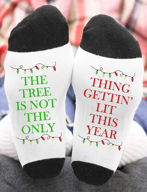 Things Gettin' Lit This Year Christmas Socks