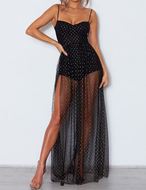Glitter Polka Dot Maxi Dress