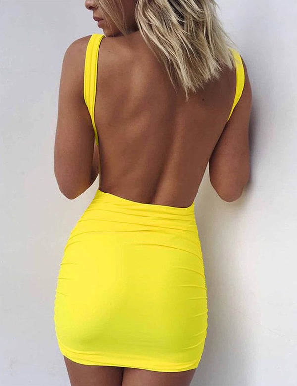 Backless U Neck Ruched Bodycon Dress