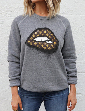 LV Lips Graphic Gray Raglan Sweatshirt