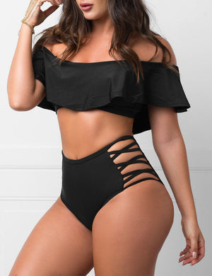 Ruffle Criss-Cross Two Piece Swimsuit In Black