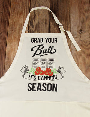 Grab Your Balls It's Canning Season Apron In Tomato