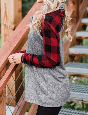 Plaid Cowl Neck Blouse