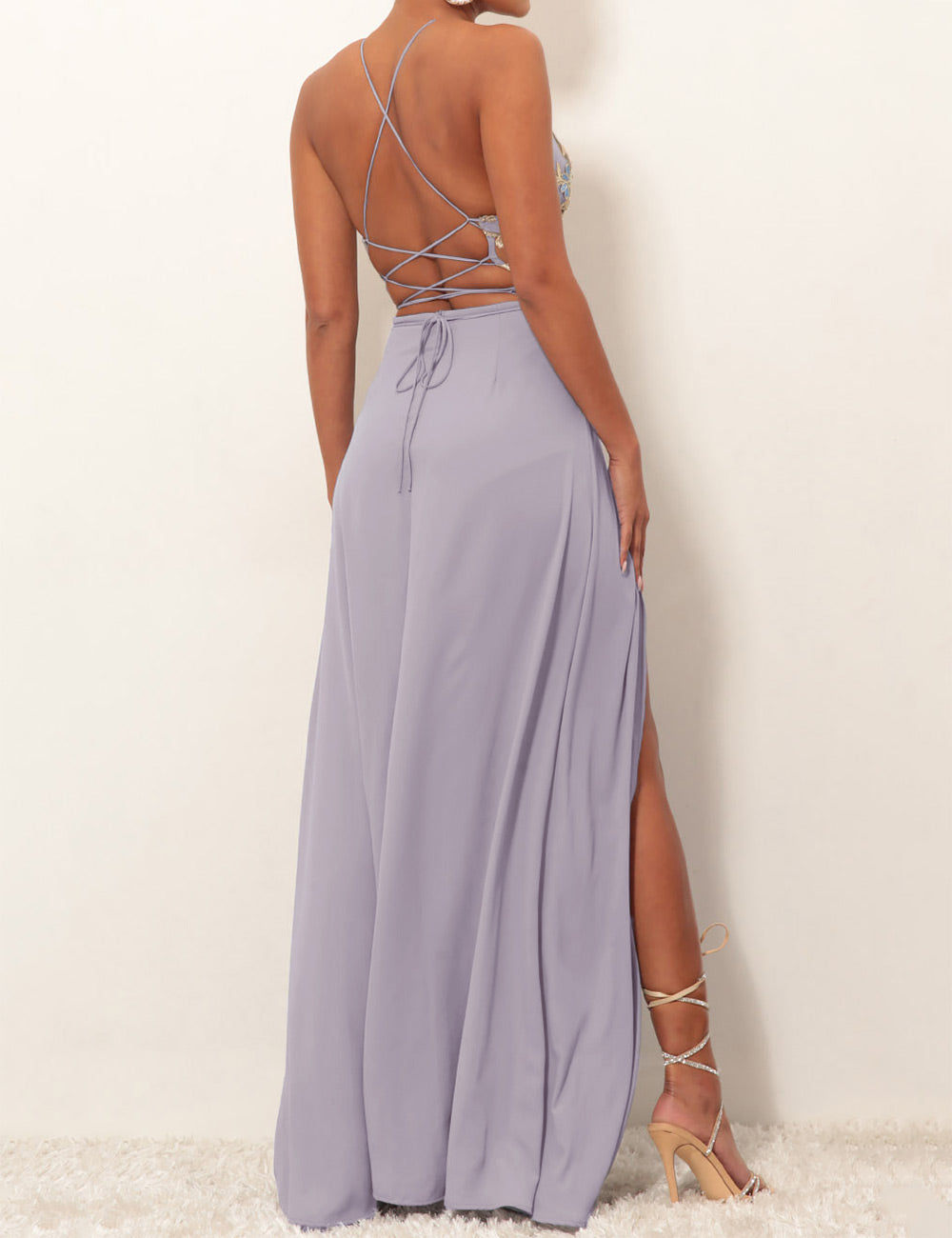 670437501ea Embroidery Slit Lace Up Maxi Dress - Pre Sale - SheShow