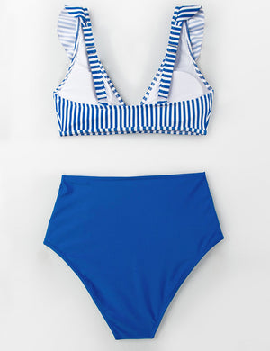 Plunge Neck Stripe Ruffle Bikini Set