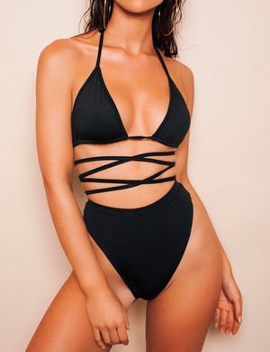 High Waist Criss-Cross Halter Bikini Set