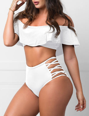 Ruffle Criss-Cross Two Piece Swimsuit In White