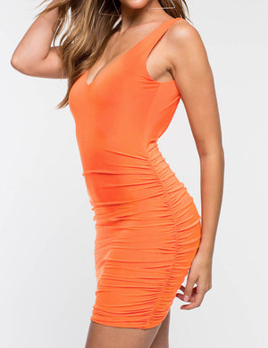 Backless Ruched Bodycon Dress