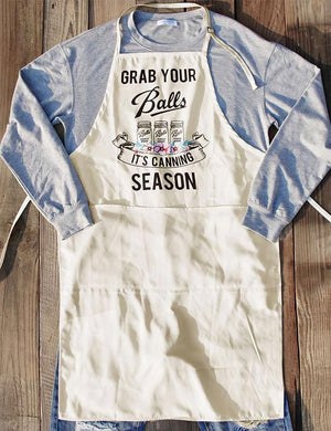 Grab Your Balls It's Canning Season Apron In Red Flower