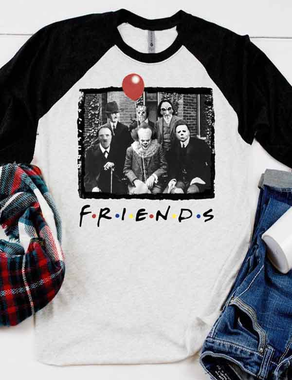 Friends It Clown Horror Jason Squad Halloween Tee