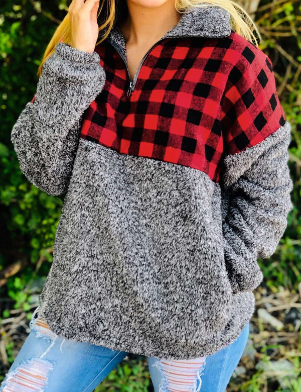 Red Plaid Sweatshirt