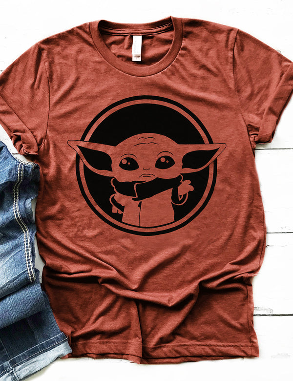 Baby Yoda Graphic Tee In Red