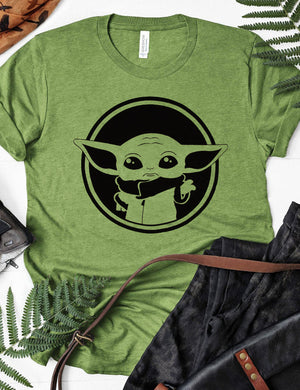 Baby Yoda Graphic Tee In Green