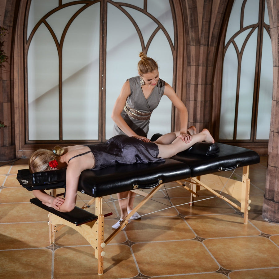Master Massage 81cm HUSKY GIBRALTAR™ XXL Portable Massage Table Package - Built for LARGER Clients! Supports an Enormous 3,200 lbs! (Black Color)