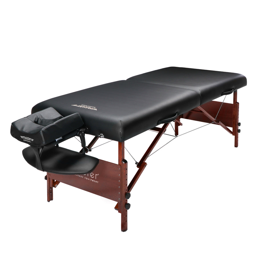 Master Massage 76 cm Del Ray Pro Tragbarer Massage-Therapie Beauty Couch Tisch Massageliegen Bett Paket, luxuriöser mit 6,3 cm dick Kissen aus Schaumstoff Schwarz