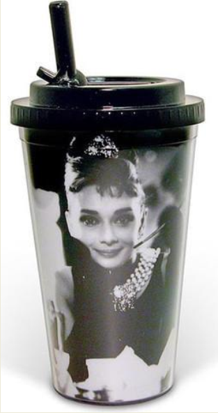 Audrey Thermos Cup with Flip Straw  -  Breakfast at Tiffany's
